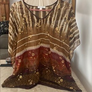 Dress Barn sheer top with gold details